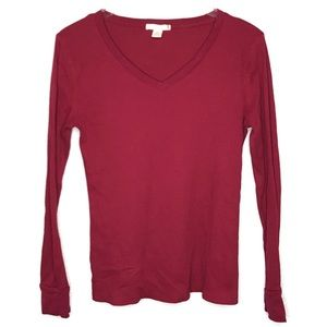 Bozzolo Fitted Thermal V-Neck Shirt Top Red Maroon